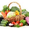 Panier de frutis et légumes en juin